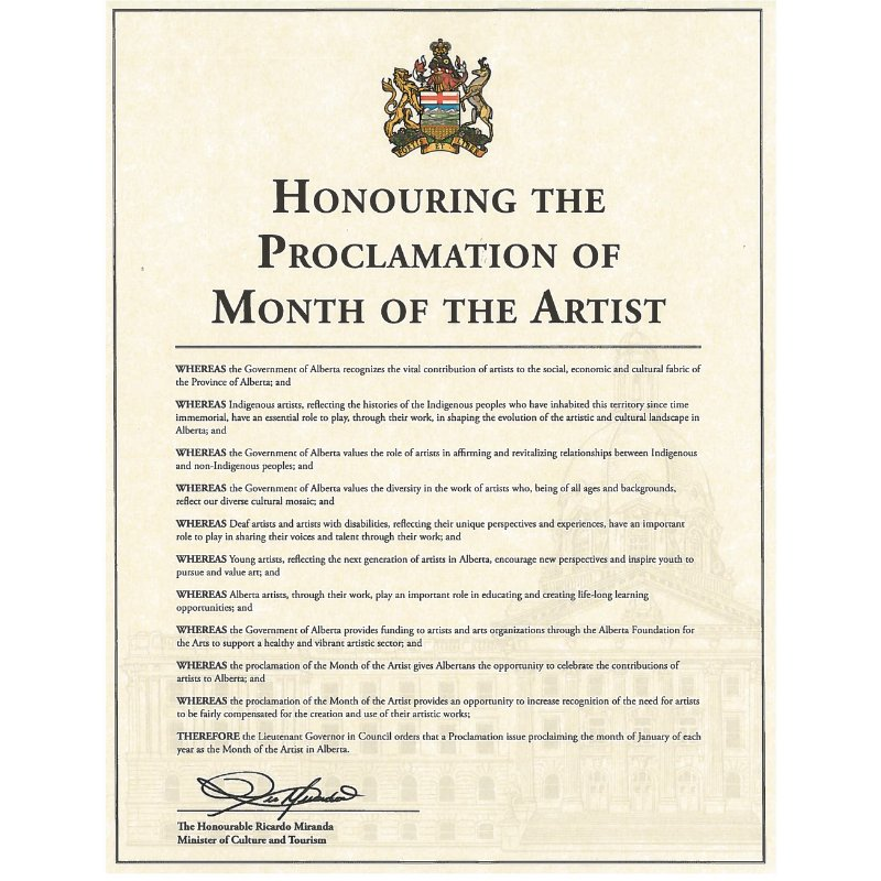 Alberta announces Month of the Artist and new Artist in