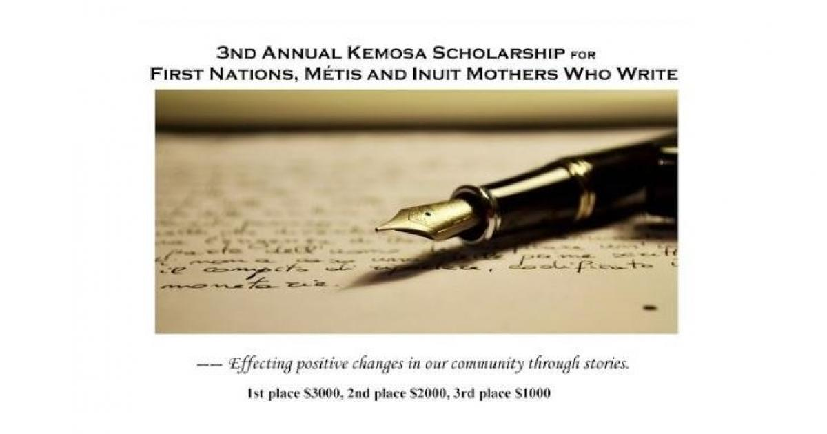 Link to 3rd Annual Kemosa Scholarship for First Nations, Métis and Inuit Mothers Who Write