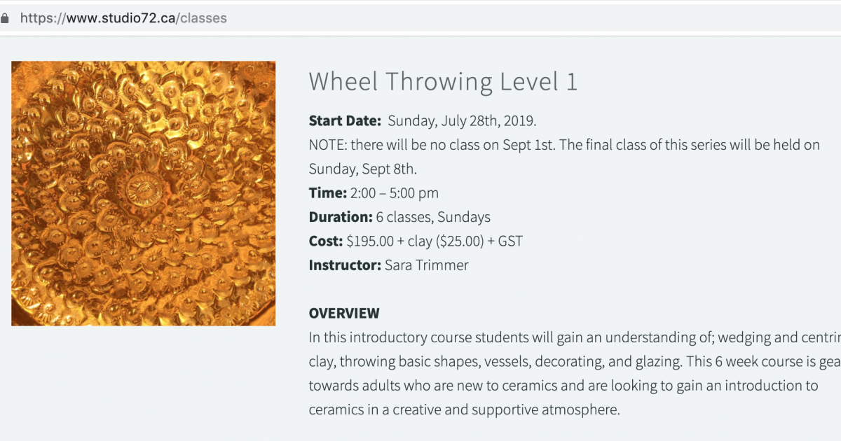 Link to Level 1 Wheel Throwing course at Studio72