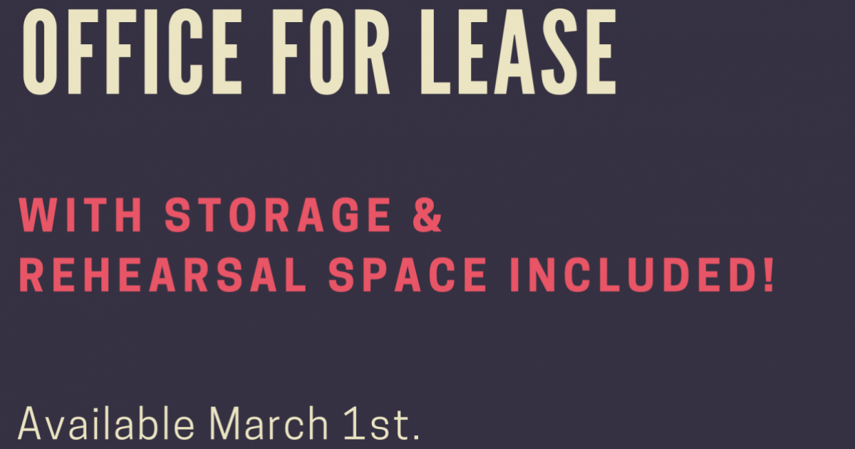 Link to Office Space for Lease, with Rehearsal Time and Storage
