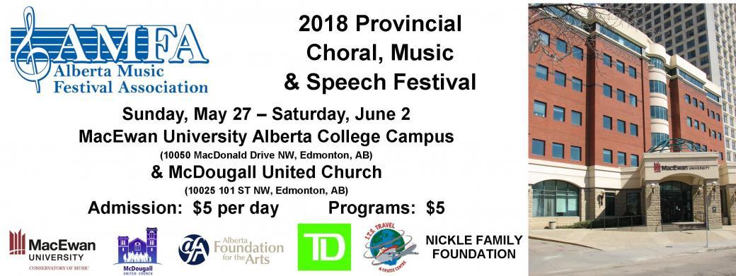 2018 AMFA Provincial Choral, Music & Speech Festival