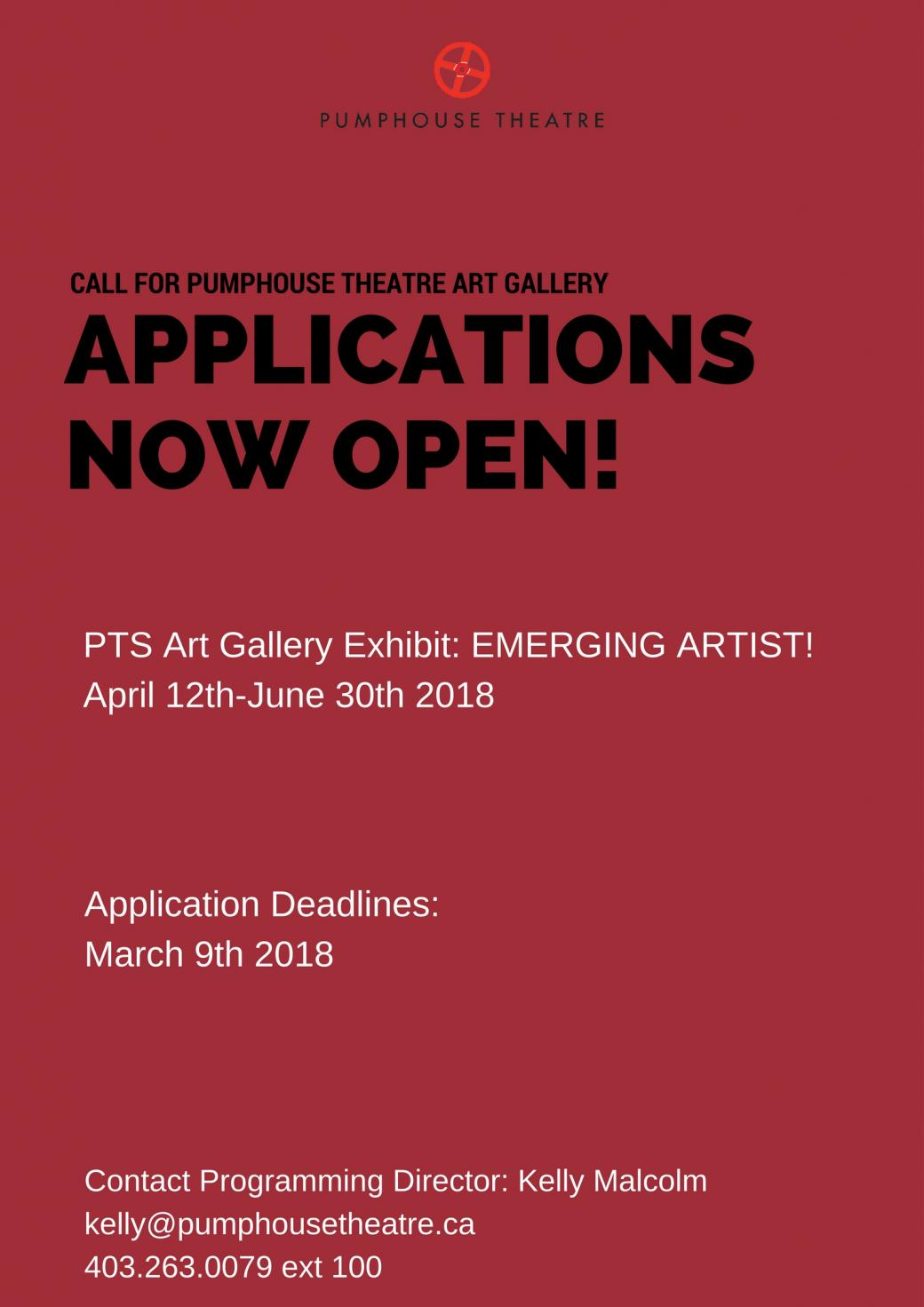 Pumphouse Theatre Lobby Art Gallery: Submissions Now Open!