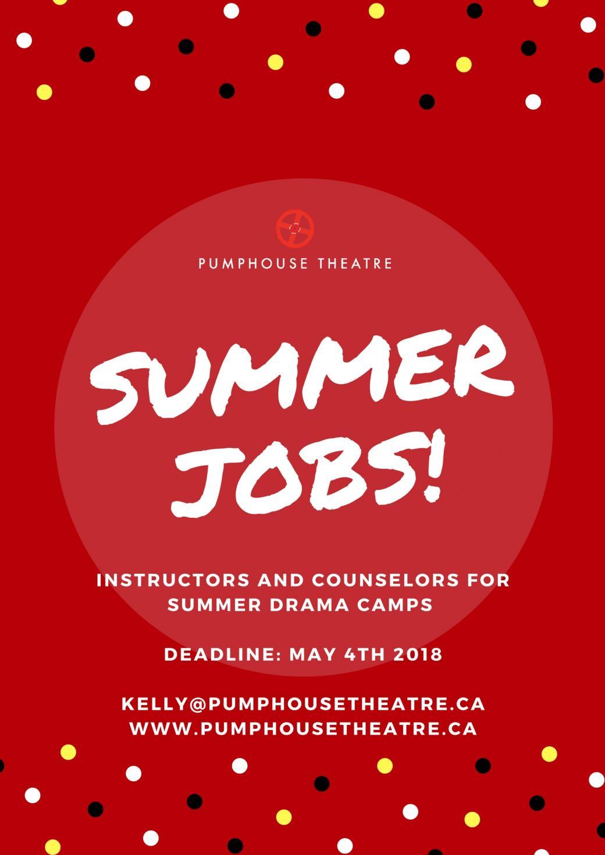 Pumphouse Theatre Summer Camp Job Oppotunity: Instructors