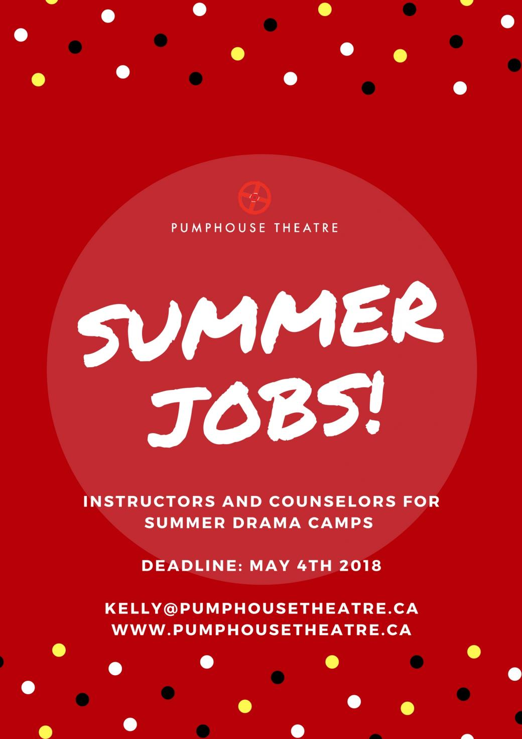 Pumphouse Theatre Summer Camp Job Opportunity: Counselors