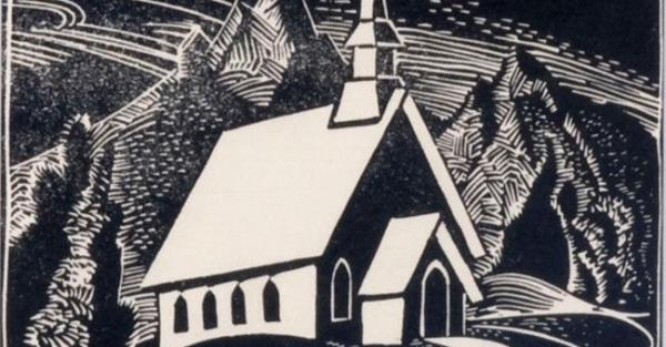 "Link to Work of the Week | ""Anglican Church at Canmore"" by Helen Stadelbauer"
