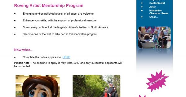 Link to International Children's Festival for the Arts - Roving Artist Mentorship Program